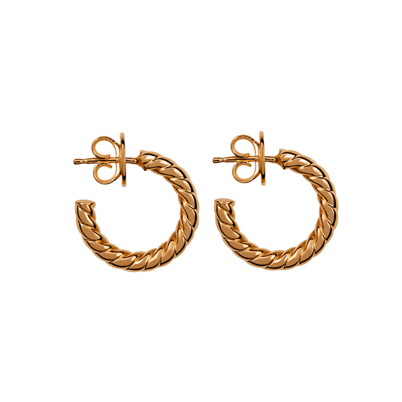 Mini rose gold plated cabled hoop earrings, J01586-03, hi-res