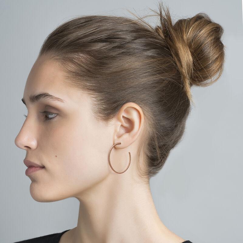Hoop earrings with balls rose gold, J04258-03, hi-res