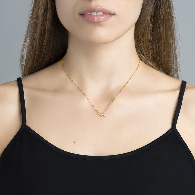 Gold plated bird and star motif necklace, J04604-02, hi-res