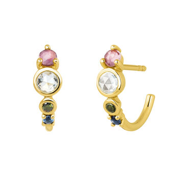 Small gold plated stones hoop earrings, J04145-02-PTSKYGTBS, hi-res