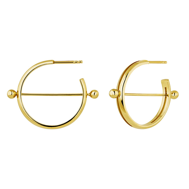 Gold plated silver piercing bar open hoop earrings, J04321-02, hi-res