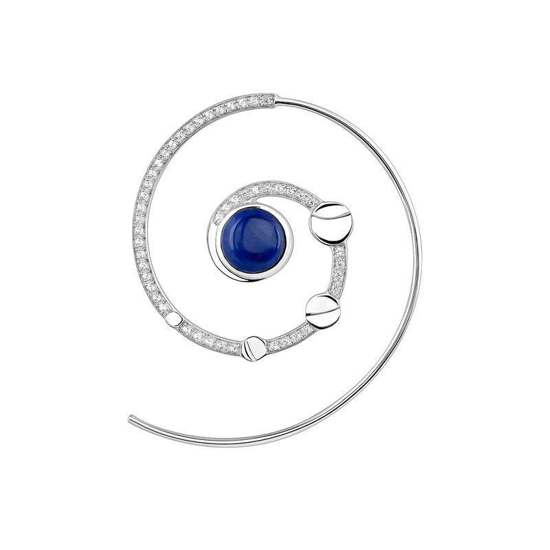 Left silver spiral moon earring, J03993-01-LPS-WT-L, hi-res