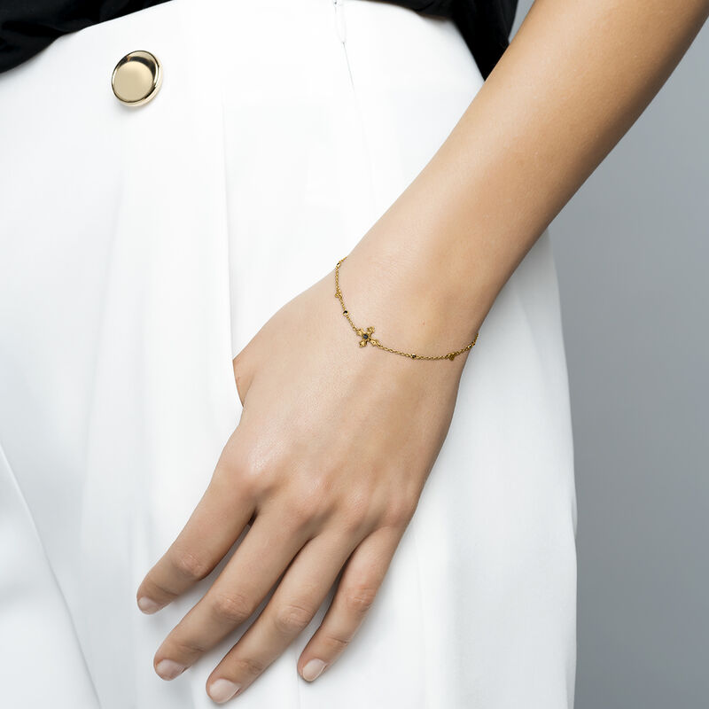 Gold plated small-size cross bracelet with spinels, J04234-02-BSN, hi-res
