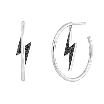 Boucles d'oreilles créoles éclair spinelle argent, J03631-01-BSN, hi-res