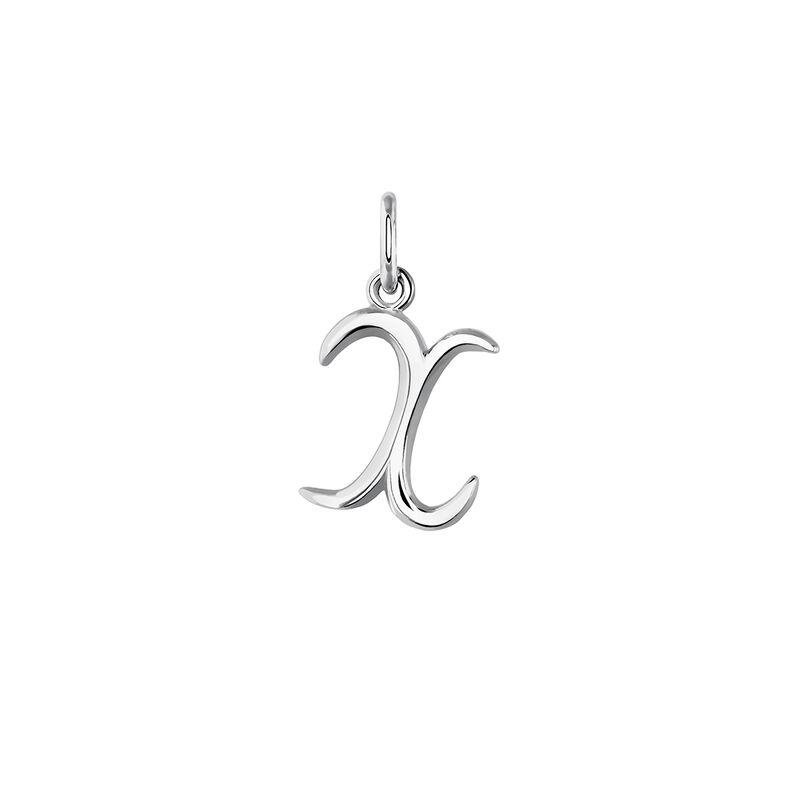 Silver initial X necklace, J03932-01-X, hi-res