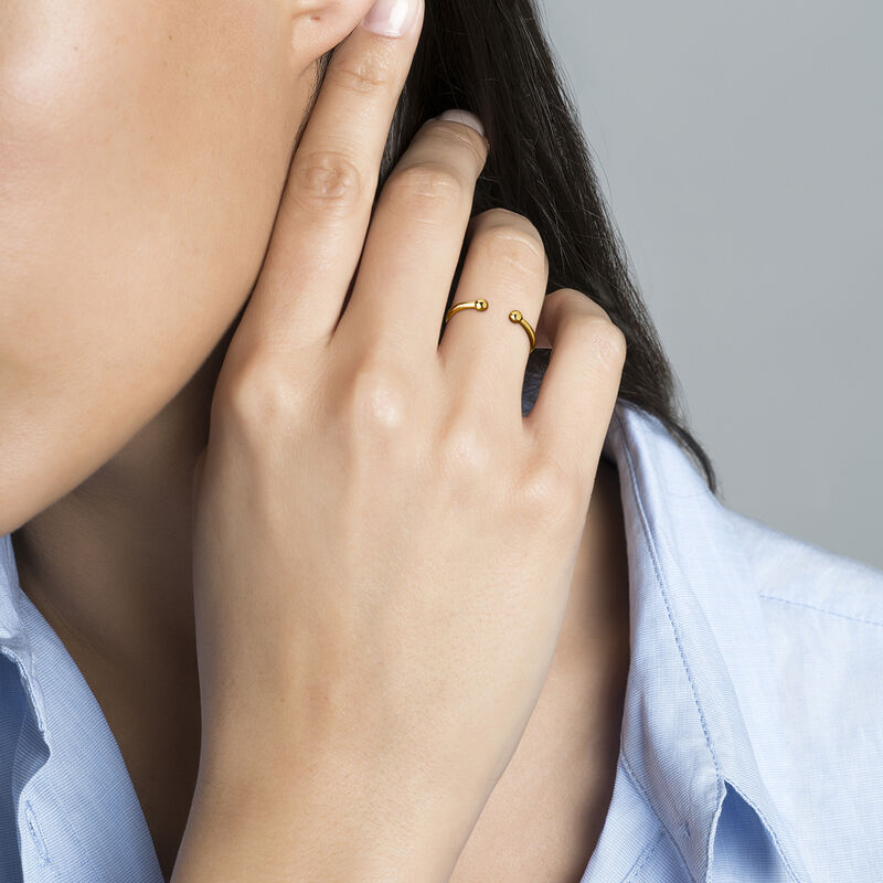 Gold plated silver piercing balls you and me ring, J04324-02, hi-res