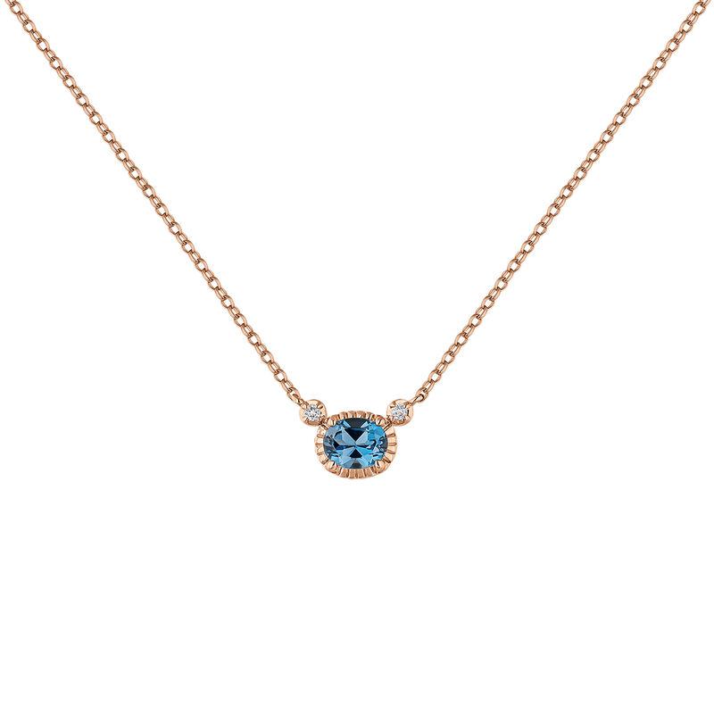 Rose gold plated blue topaz necklace, J04667-03-LB-WT, hi-res