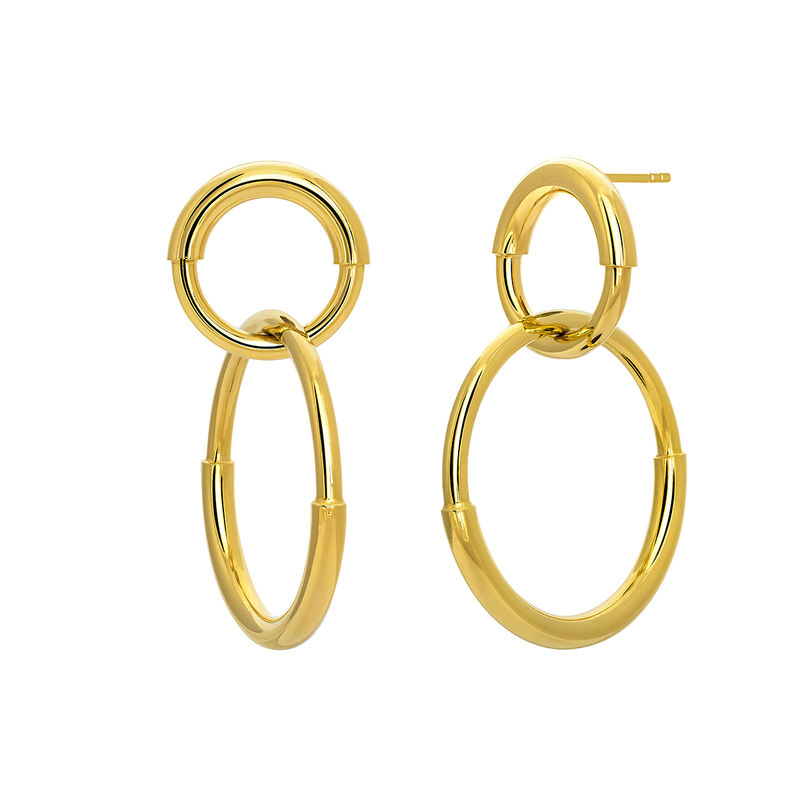 Gold plated double link hoop earrings, J03652-02, hi-res