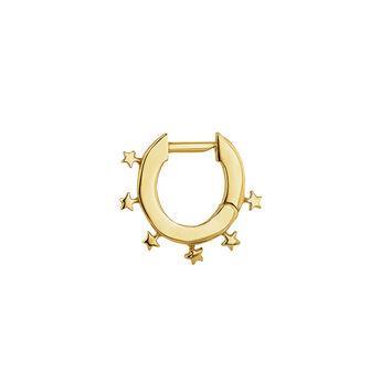 Boucles d'oreilles créoles étoiles argent plaqué or, J04869-02-H, hi-res