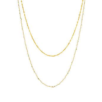 Gold opal double necklace, J03616-02-GOP, hi-res