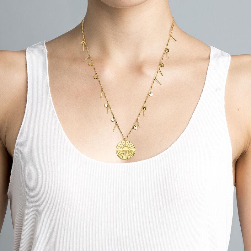 Collar medalla con colgantes oro, J04138-02-WT, hi-res
