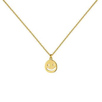 Collier à motif smiley argent plaqué or, J04843-02, hi-res