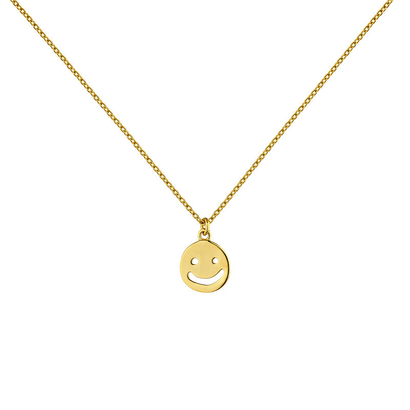 Gold plated silver smiley motif necklace, J04843-02, hi-res