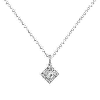 Collier carré topaze diamant argent, J03774-01-WT-GD, hi-res