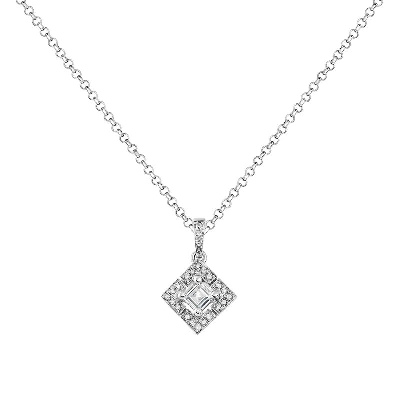 Square silver topaz and diamond necklace, J03774-01-WT-GD, hi-res