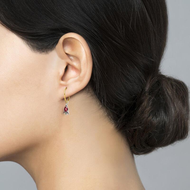 Silver and 9 ct gold rhodolite hoop earrings, J04309-10-ROMULTI-H, hi-res