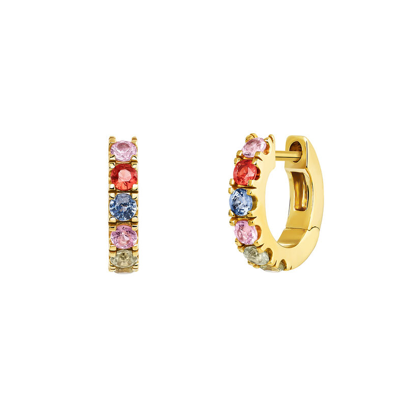Gold plated hoop earring with sapphire, J04094-02-MULTI, hi-res