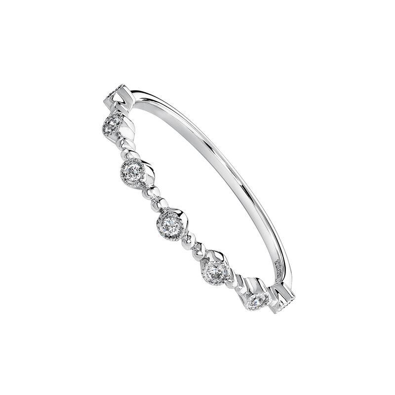 Bague motifs diamant or blanc 0,105 ct, J03920-01, hi-res