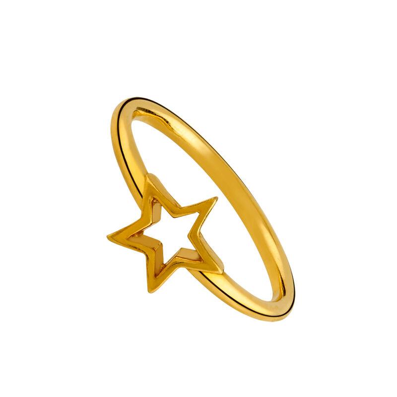 Anillo estrella hueca plata recubierta oro, J01893-02, hi-res