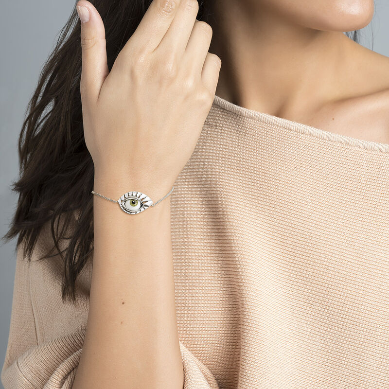 Silver green eye bracelet, J04402-01-GE, hi-res