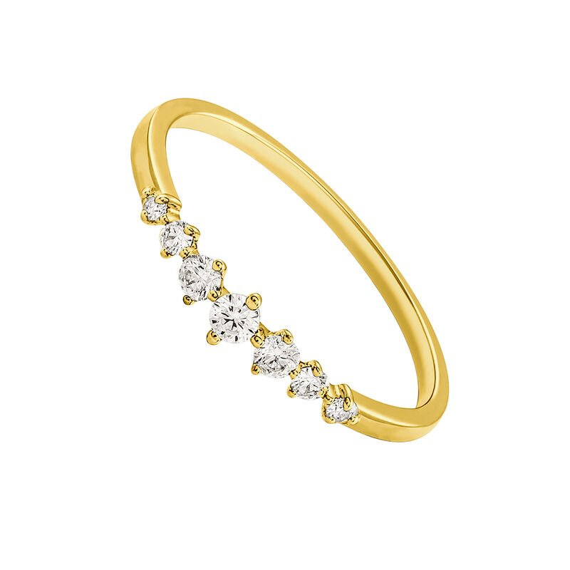 Gold seven diamonds ring 0.13 ct, J03349-02, hi-res