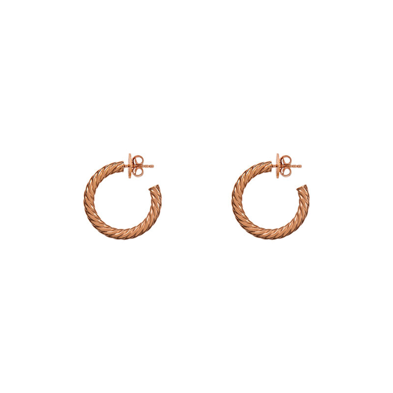 Gold cabled medium hoop earrings, J01588-03, hi-res