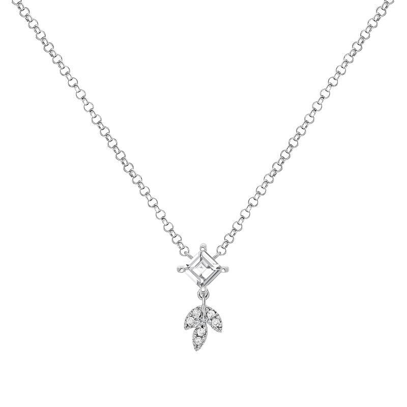 Silver topaz and leaf pendant, J03717-01-WT-GD, hi-res