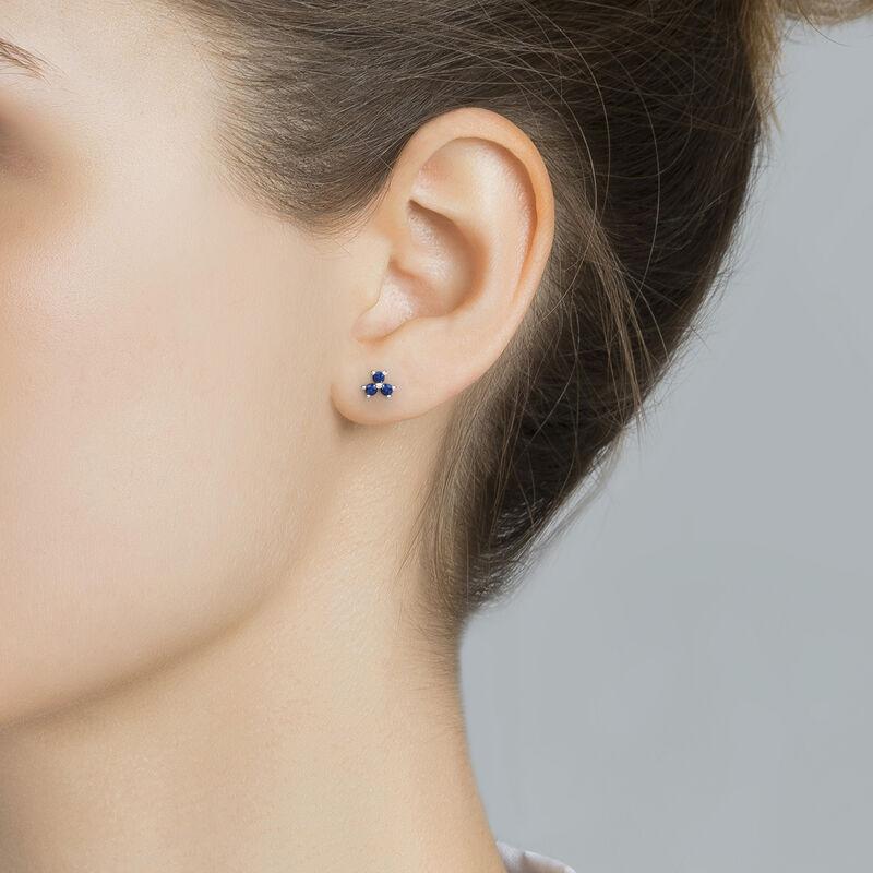 Silver shamrock sapphire earrings, J01965-01-BS, hi-res
