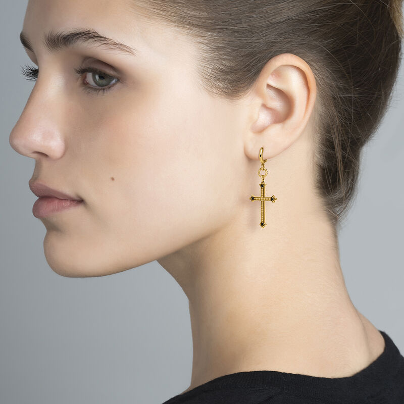 Gold drop earrings with a large cross and black spinels, J04229-02-BSN, hi-res