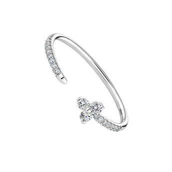 White gold diamond clover You and Me ring, J04433-01, hi-res