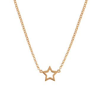 Rose gold hollow star necklace, J00659-03, hi-res