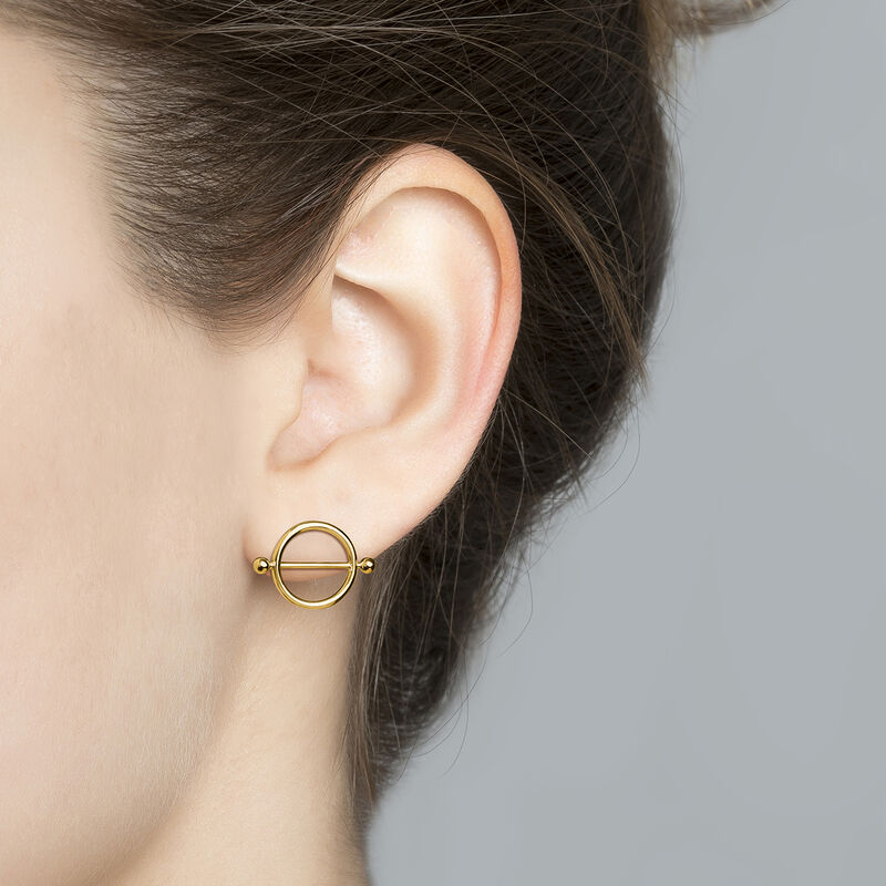 Small gold plated silver piercing bar hoop earrings, J04317-02, hi-res