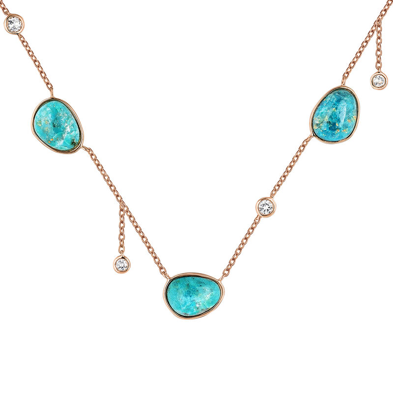 Pink gold plated three chrysocollas boho necklace, J04115-03-CH-WT, hi-res