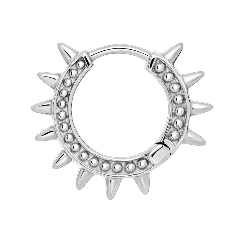 White gold hoop earring piercing with spikes, J03846-01-H, hi-res