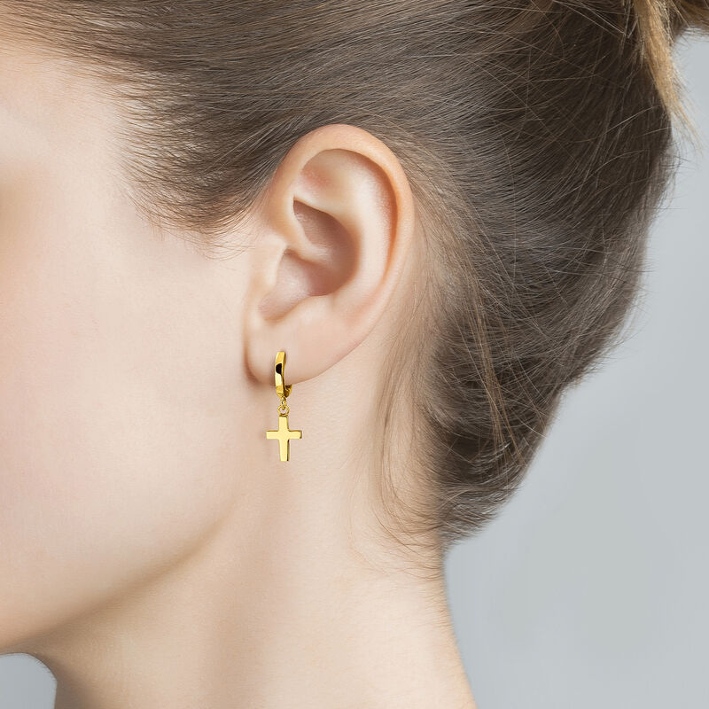 Gold Cross Hoop Earring, J01904-02, hi-res