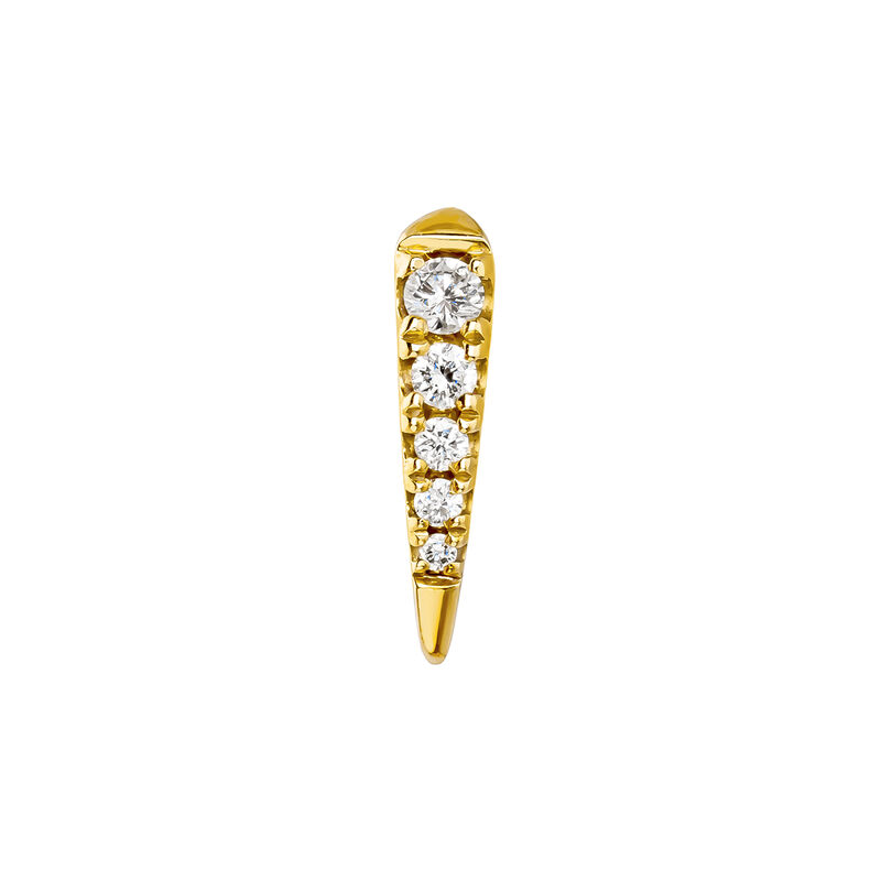 Boucle d'oreille piercing en or jaune griffe diamant 0,05 ct, J03877-02-H, hi-res