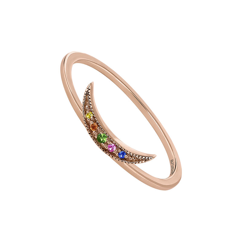 Rose gold multicolor sapphires and tsavorite crescent ring, J04338-03-MULTI, hi-res