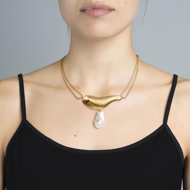 Sculptural pearl gold necklace, J04057-02-WP, hi-res