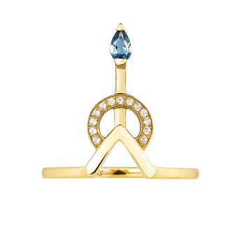 Yellow gold geometric stone ring, J03954-02-WT-LB, hi-res