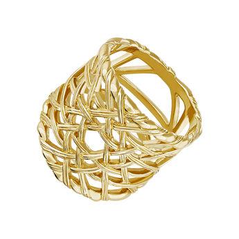Anillo grande mimbre plata recubierta oro, J04411-02, hi-res