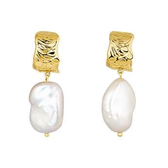 Hoop earrings baroque pearl yellow gold, J04199-02-WP, hi-res