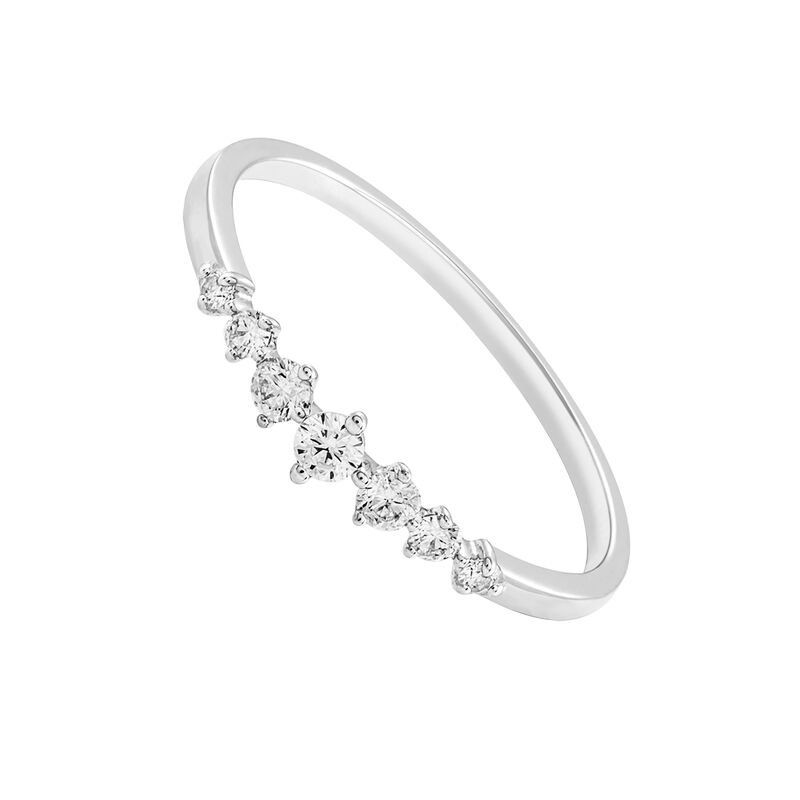 Bague sept diamants or blanc 0,13 ct, J03349-01, hi-res