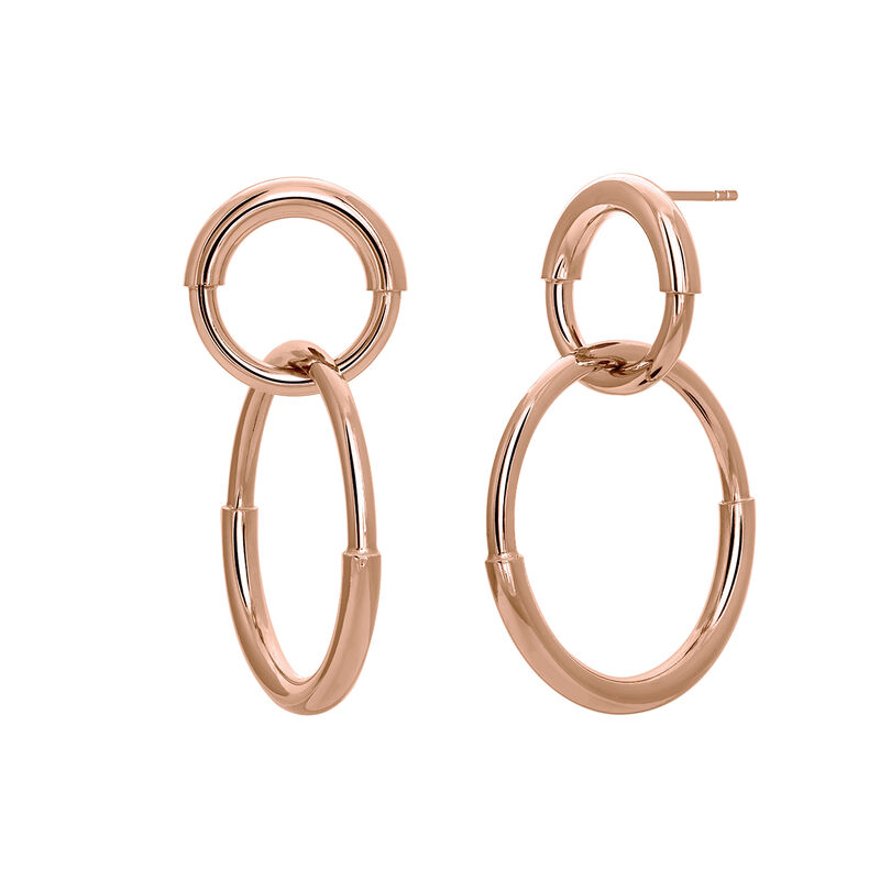 Rose gold plated double link hoop earrings, J03652-03, hi-res
