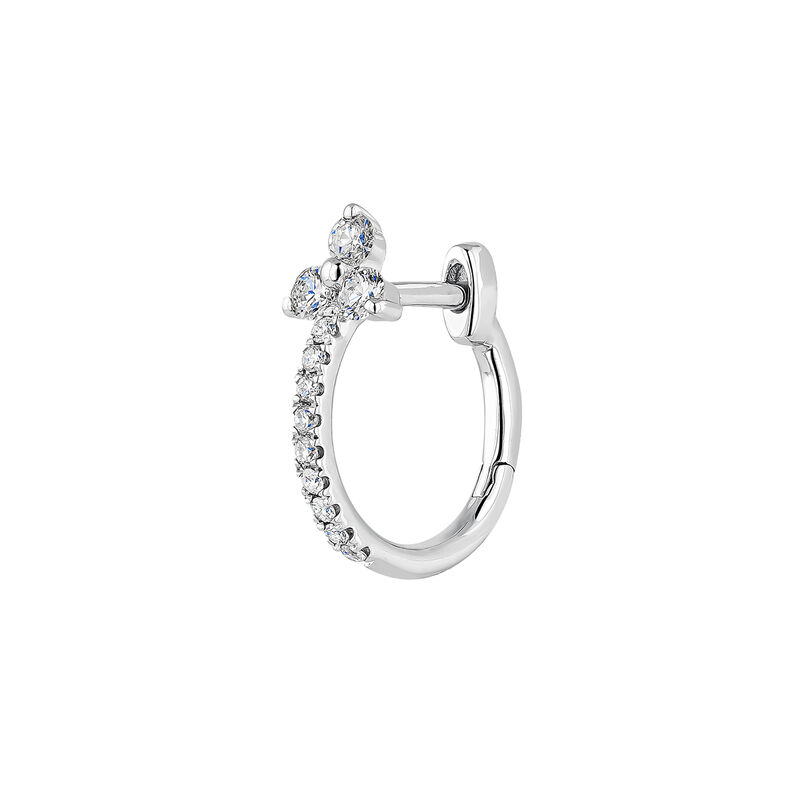 White gold diamond clover hoop earrings, J04427-01-H, hi-res