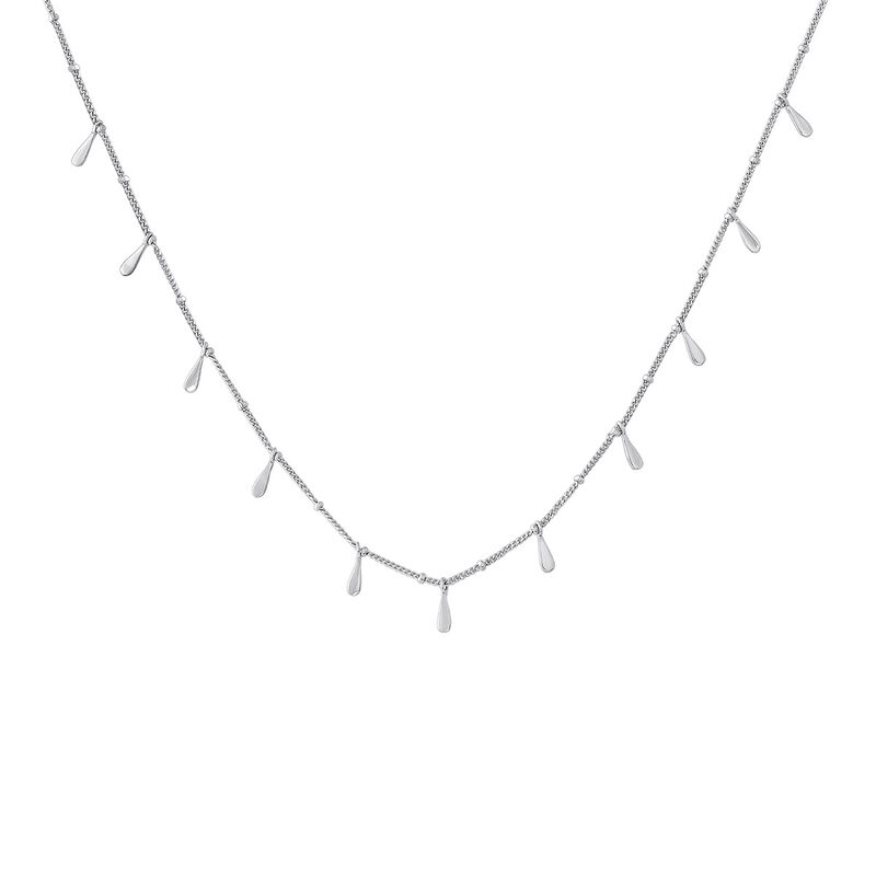 Silver drop motifs necklace, J04591-01, hi-res