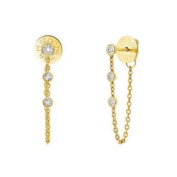 Gold topaz Creole earrings, J03672-02-WT, hi-res