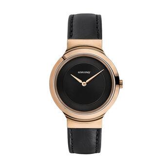 Montre Vesterbro bracelet cuir noir, W48A-PKPKBL-LEBL, hi-res