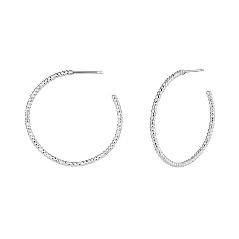 Hoop earrings with balls silver, J04258-01, hi-res