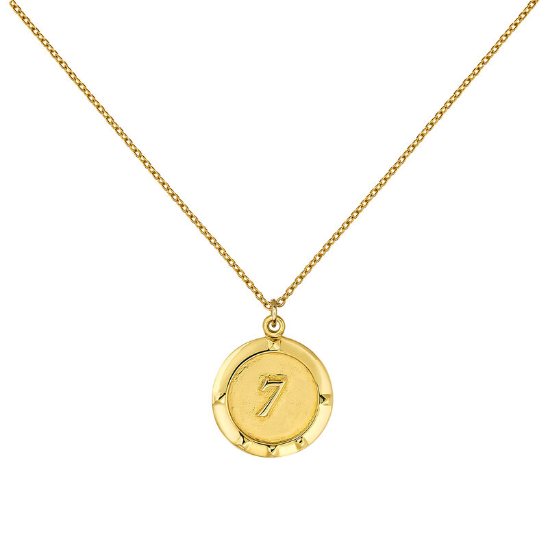 Gold plated coin number 7 pendant, J03588-02-WT, hi-res