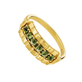 Large gold plated green turmaline ring, J04274-02-GTU, hi-res